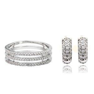 Micro-inlaid crystal ring earrings set
